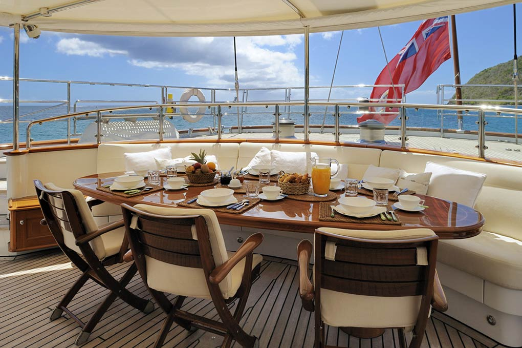 Lounge area on a deck of yacht for charter S/Y Drumbeat