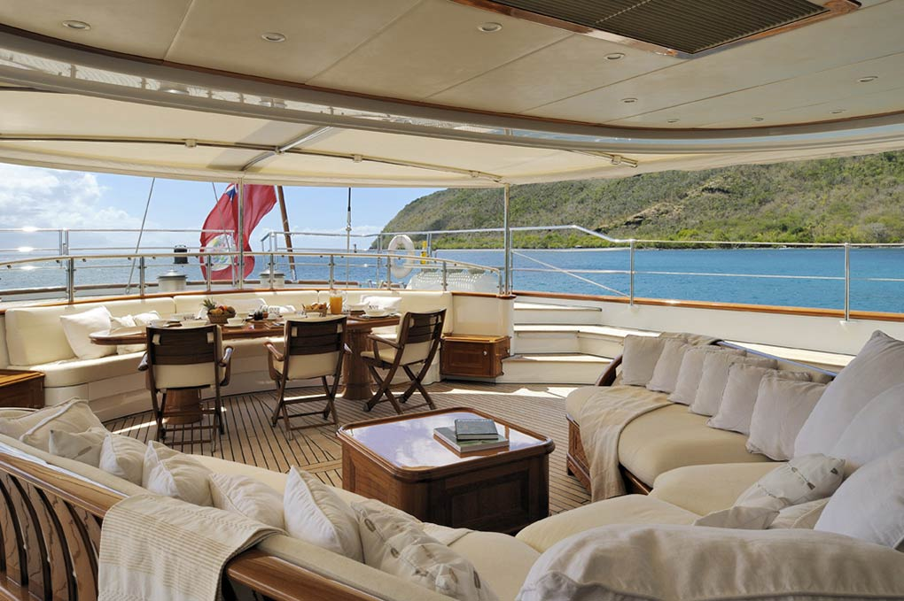 Deck lounge area on a yacht for charter S/Y Drumbeat