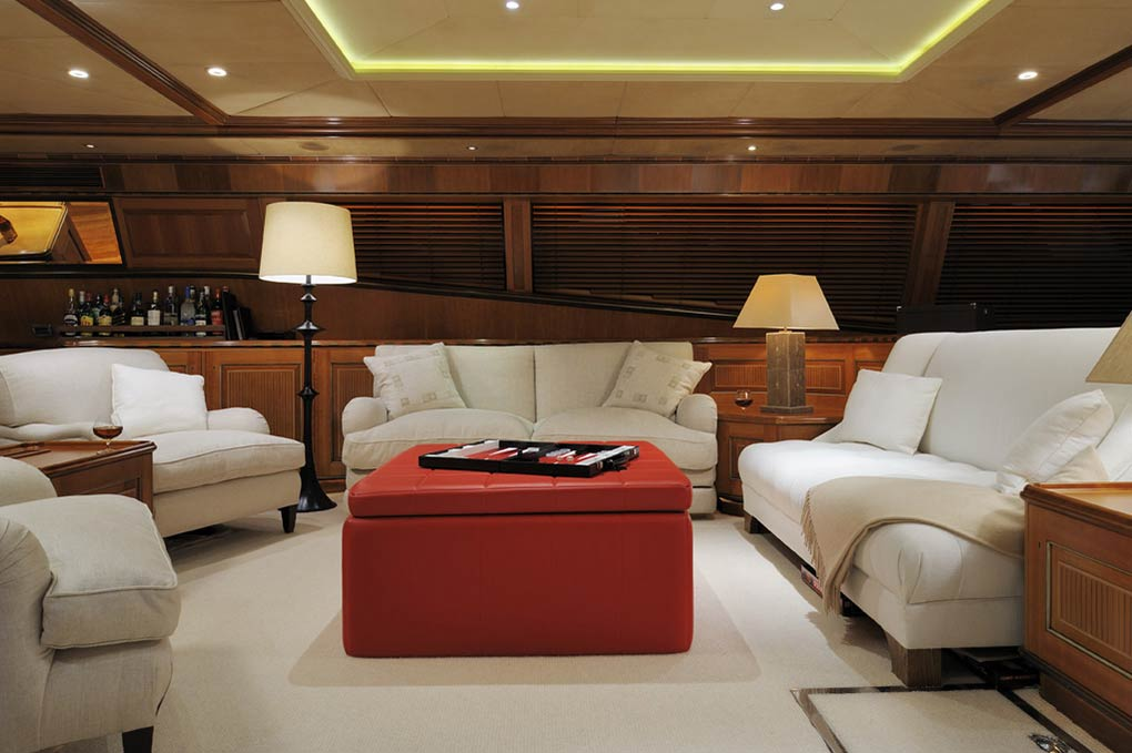 Lounge area on a yacht for charter S/Y Drumbeat