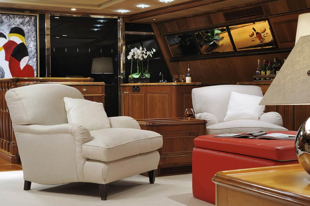 Main lounge area on a yacht for charter S/Y Drumbeat