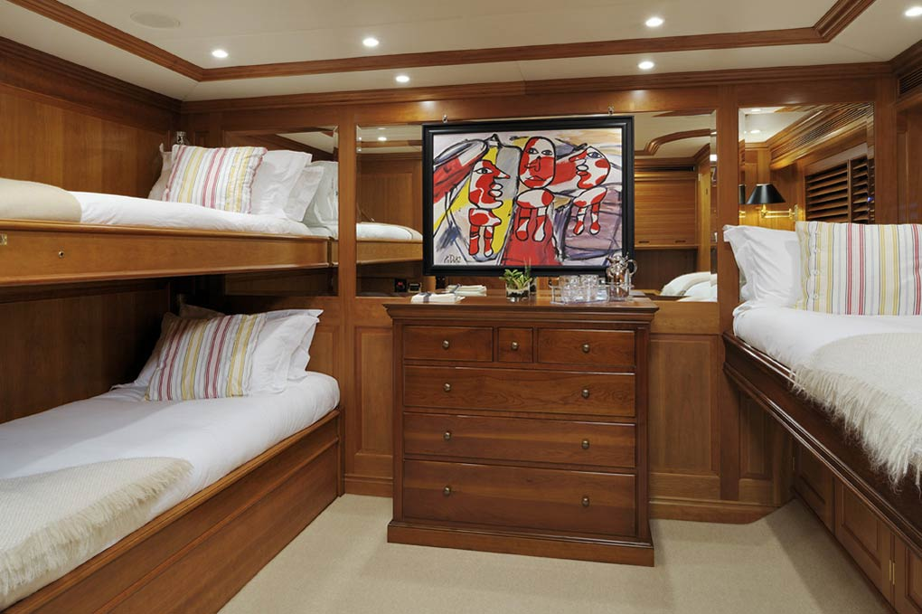 bedroom area on a yacht for charter S/Y Drumbeat