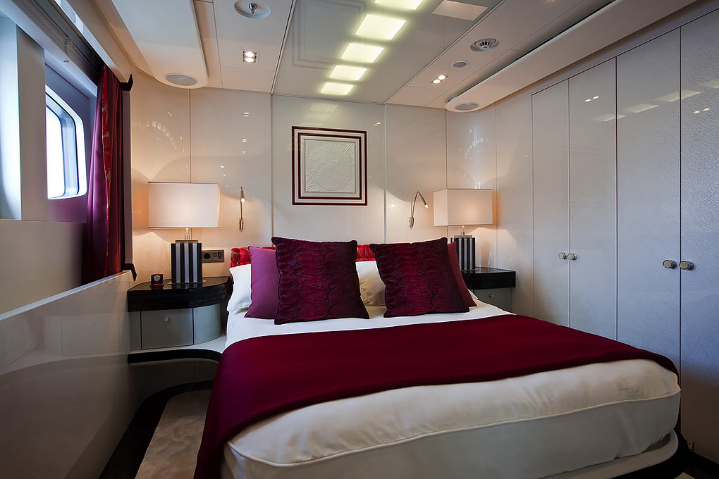 Bedroom on a yacht for charter M/Y Quite Essential