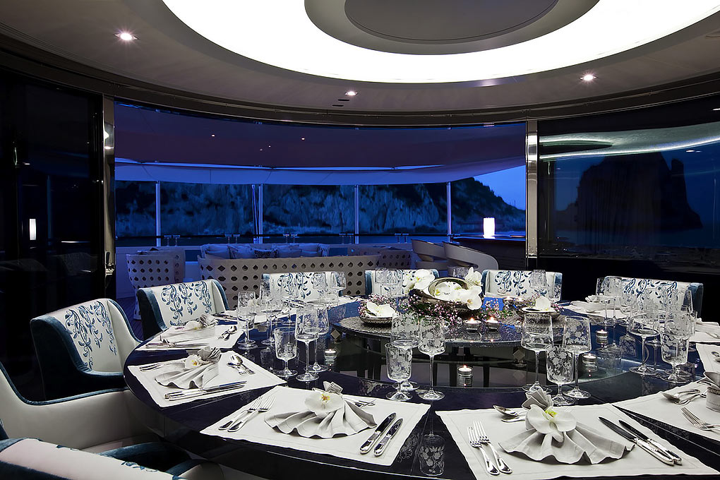 Dining room on a yacht for charter M/Y Quite Essential