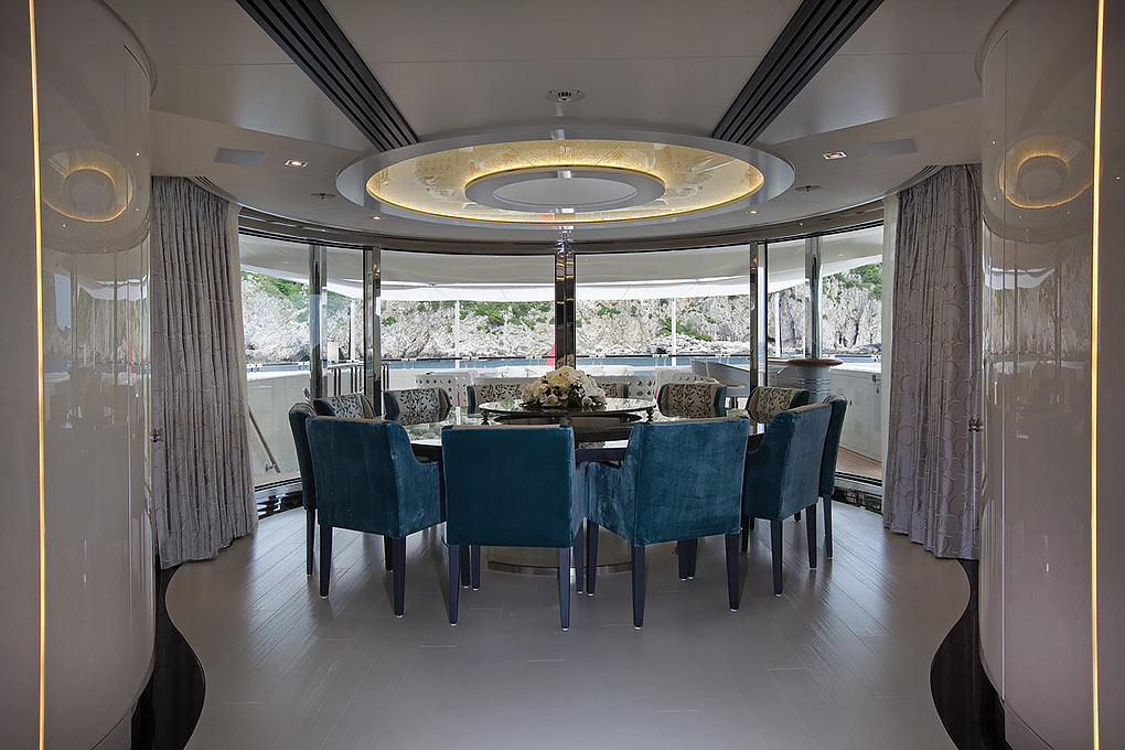 Dining area on a yacht for charter M/Y Quite Essential