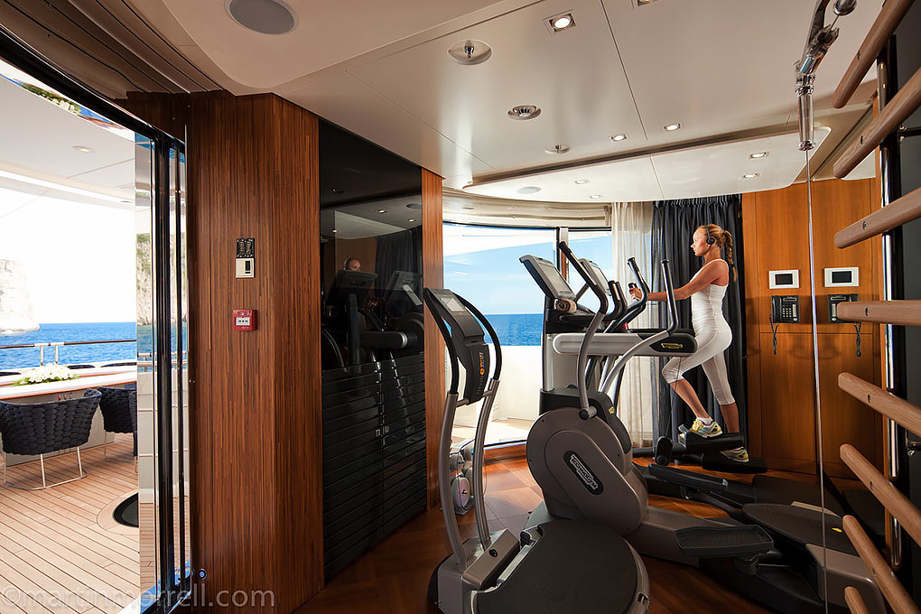 Gym area on a yacht for charter M/Y Quite Essential