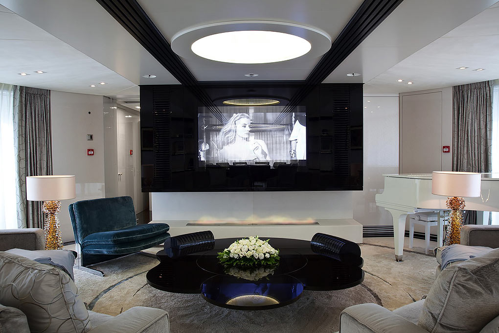 TV area on a yacht for charter M/Y Quite Essential