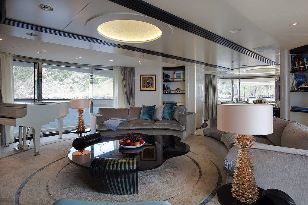 Main lounge area on a yacht for charter M/Y Quite Essential