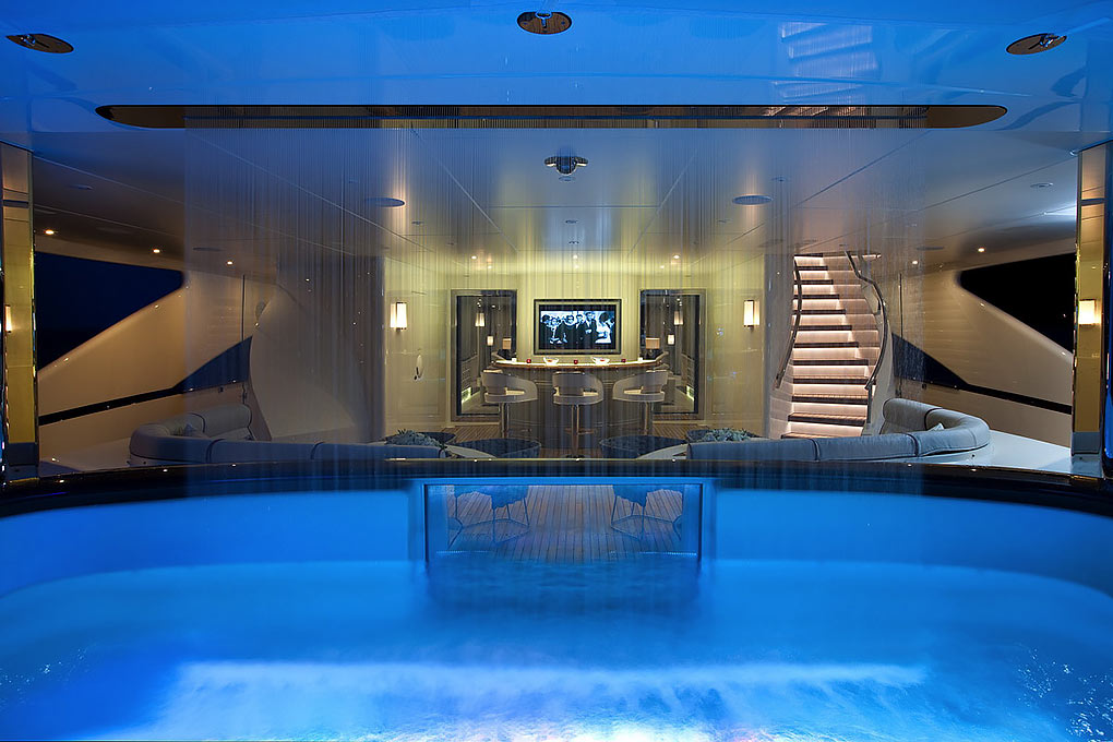 Pool area on a yacht for charter M/Y Quite Essential