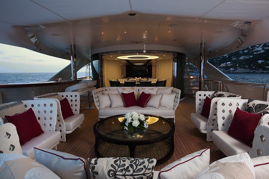 Sundeck area on a yacht for charter M/Y Quite Essential
