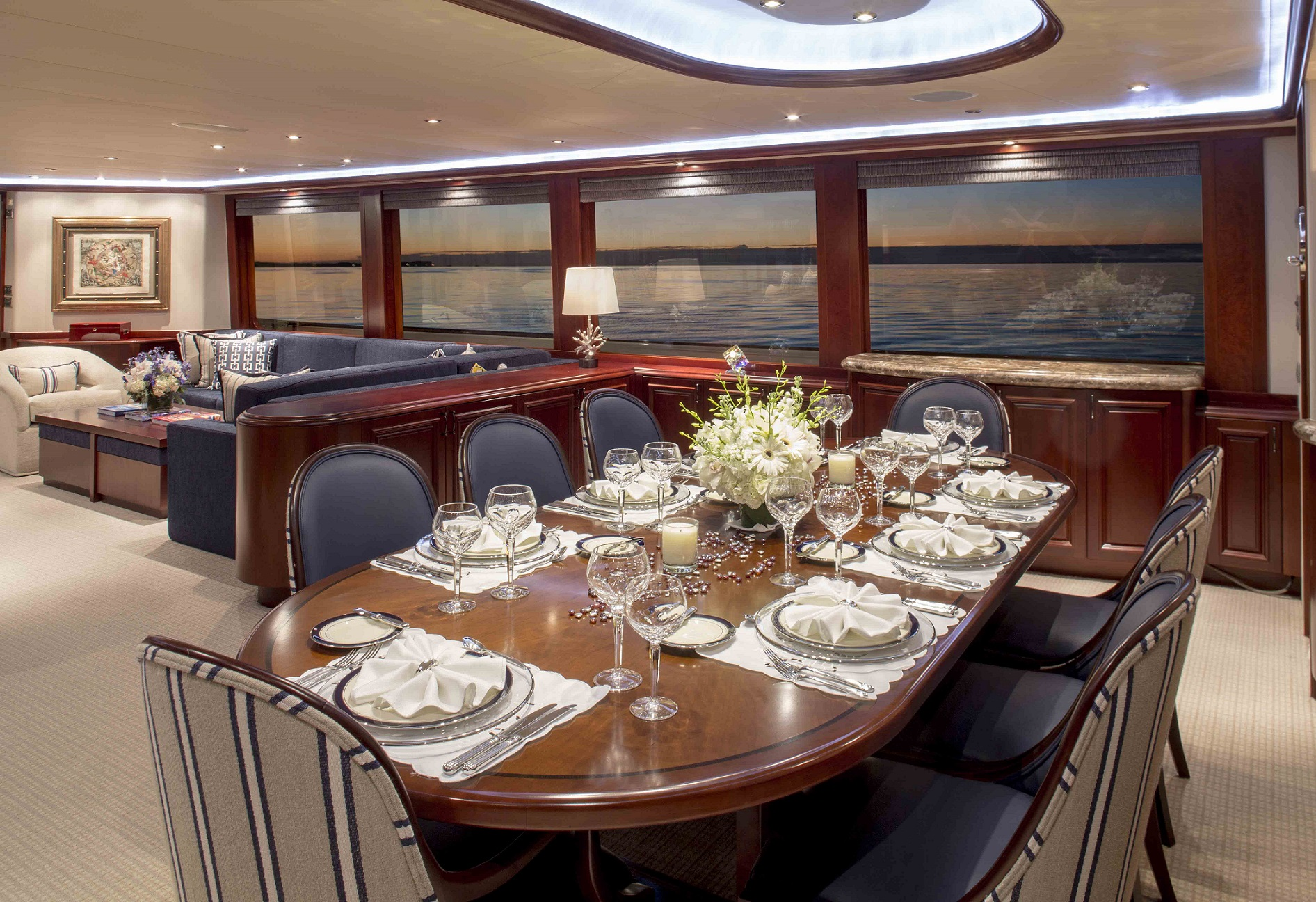 plan a yacht for charter dining room