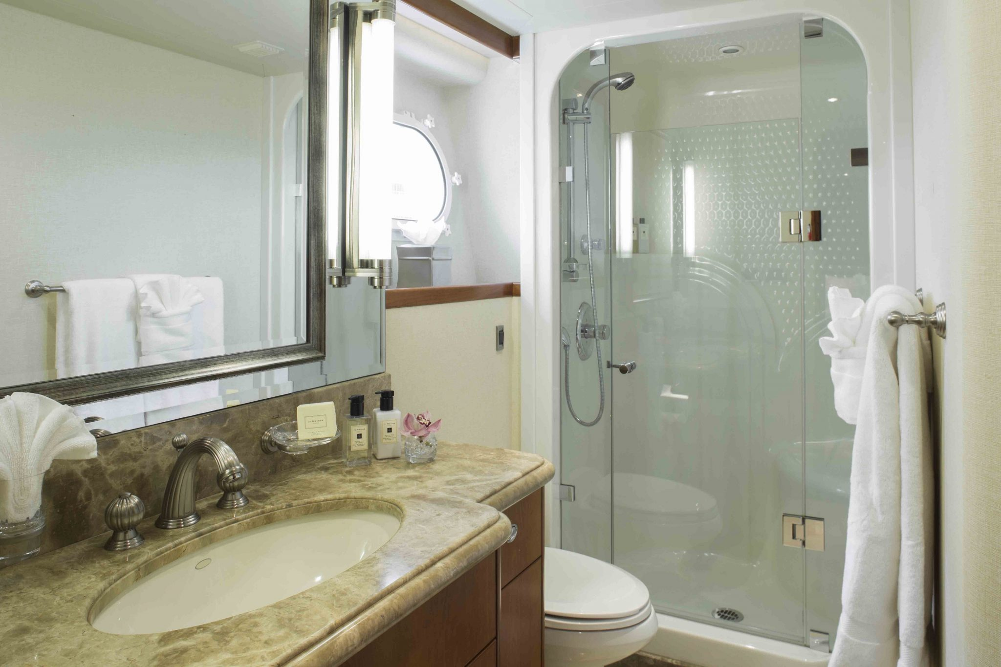 plan a yacht for charter guest bathroom