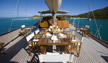 S/Y TIZIANA yacht for charter open dining area on deck