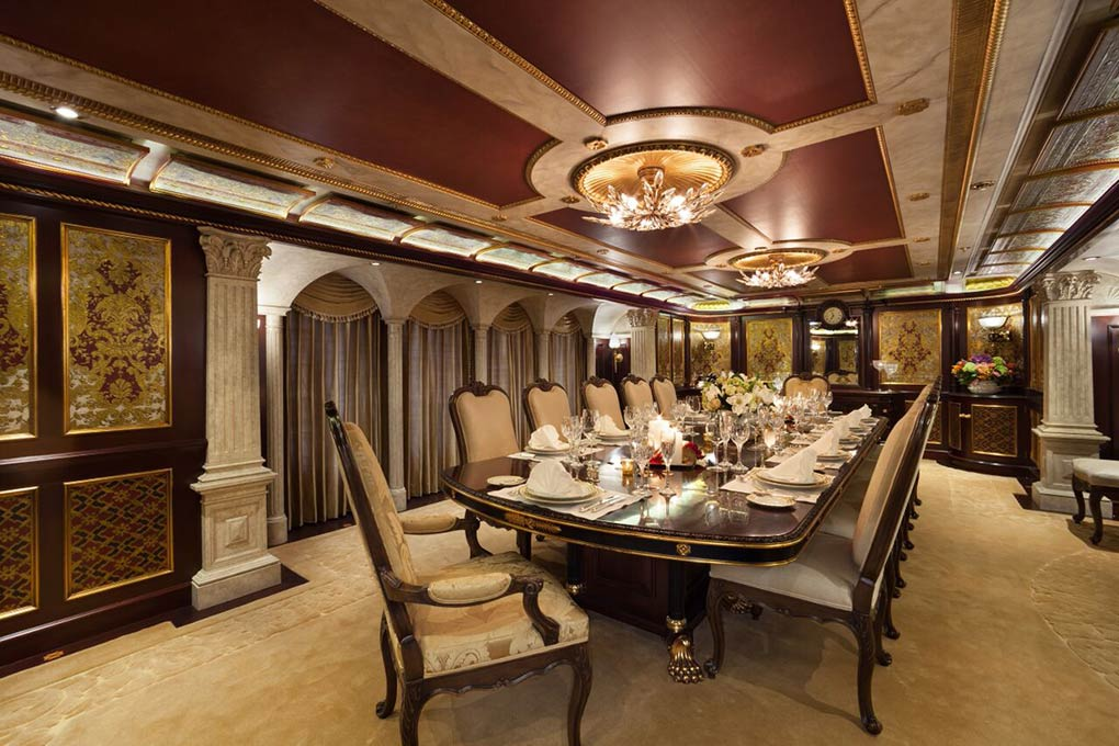 formal dining area on M/Y FREEDOM