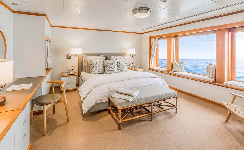 Lagoon cabin bedroom on a yacht for charter yacht for charter M/Y SuRi