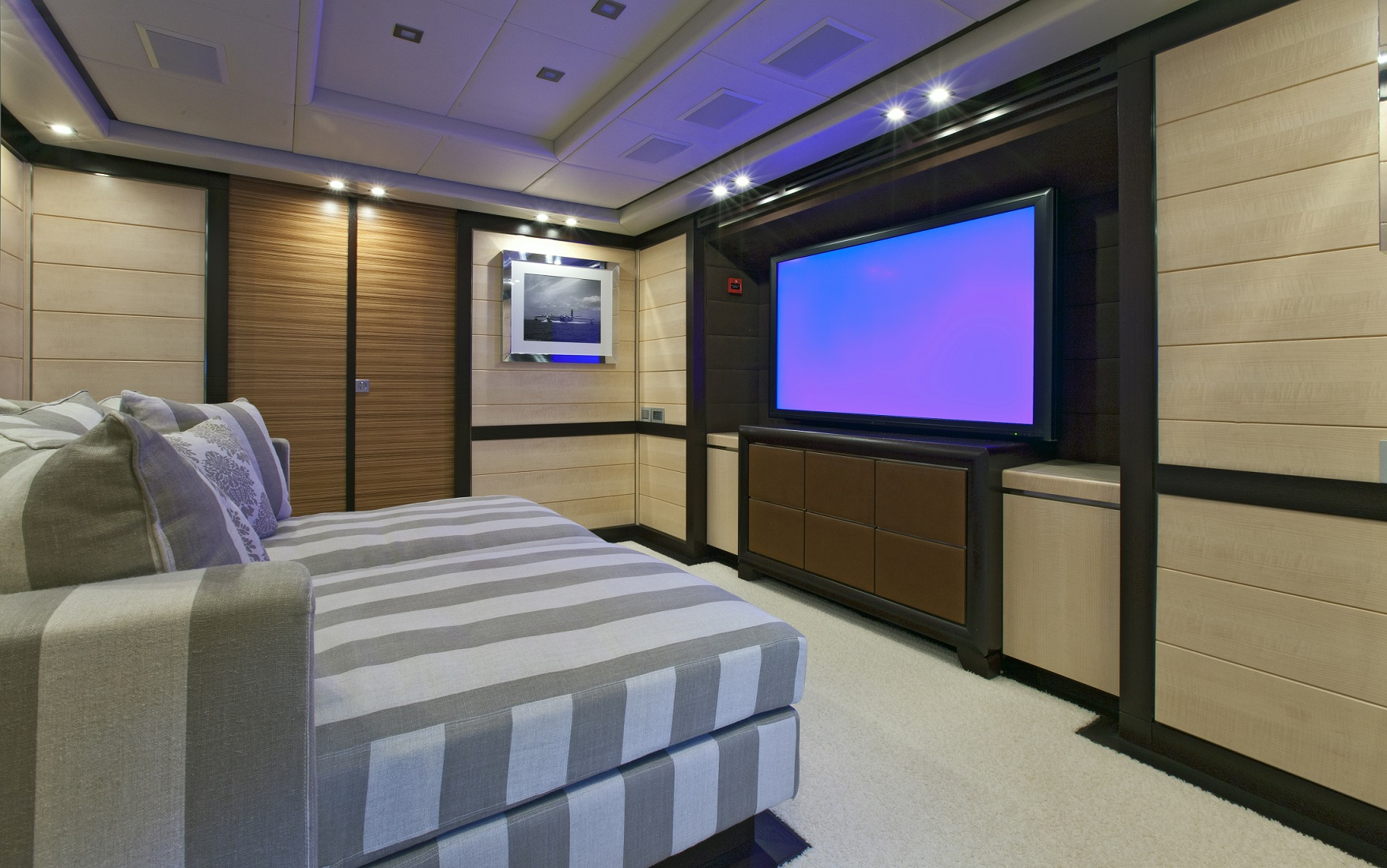 lisa iv yacht for charter cinema room