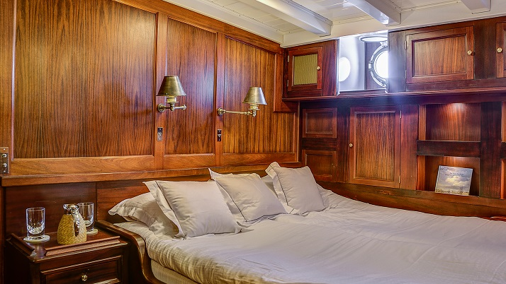 Bedroom on a luxury yacht for charter S/Y TRINAKRIA