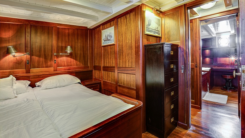 Private cabin on a luxury sail yacht TRINAKRIA for charter