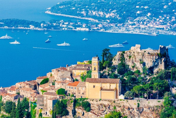 Hilltop view on luxury yacht charter France