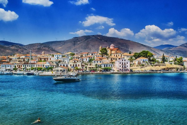 Coastline on luxury yacht charter in Greece