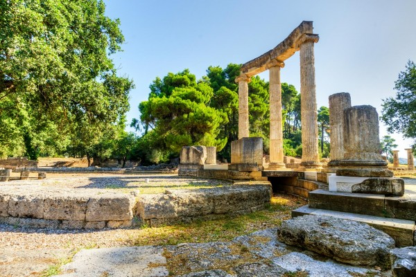 Ancient ruins on luxury yacht charter in Greece
