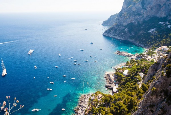 Yachts anchored on luxury yacht charter Italy