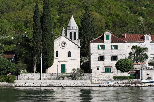 Waterside church spotted on luxury yacht charter in Montenegro