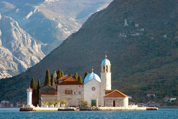 Church on island spotted on luxury yacht charter in Montenegro
