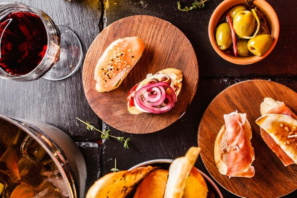 Tapas on luxury yacht charter Spain