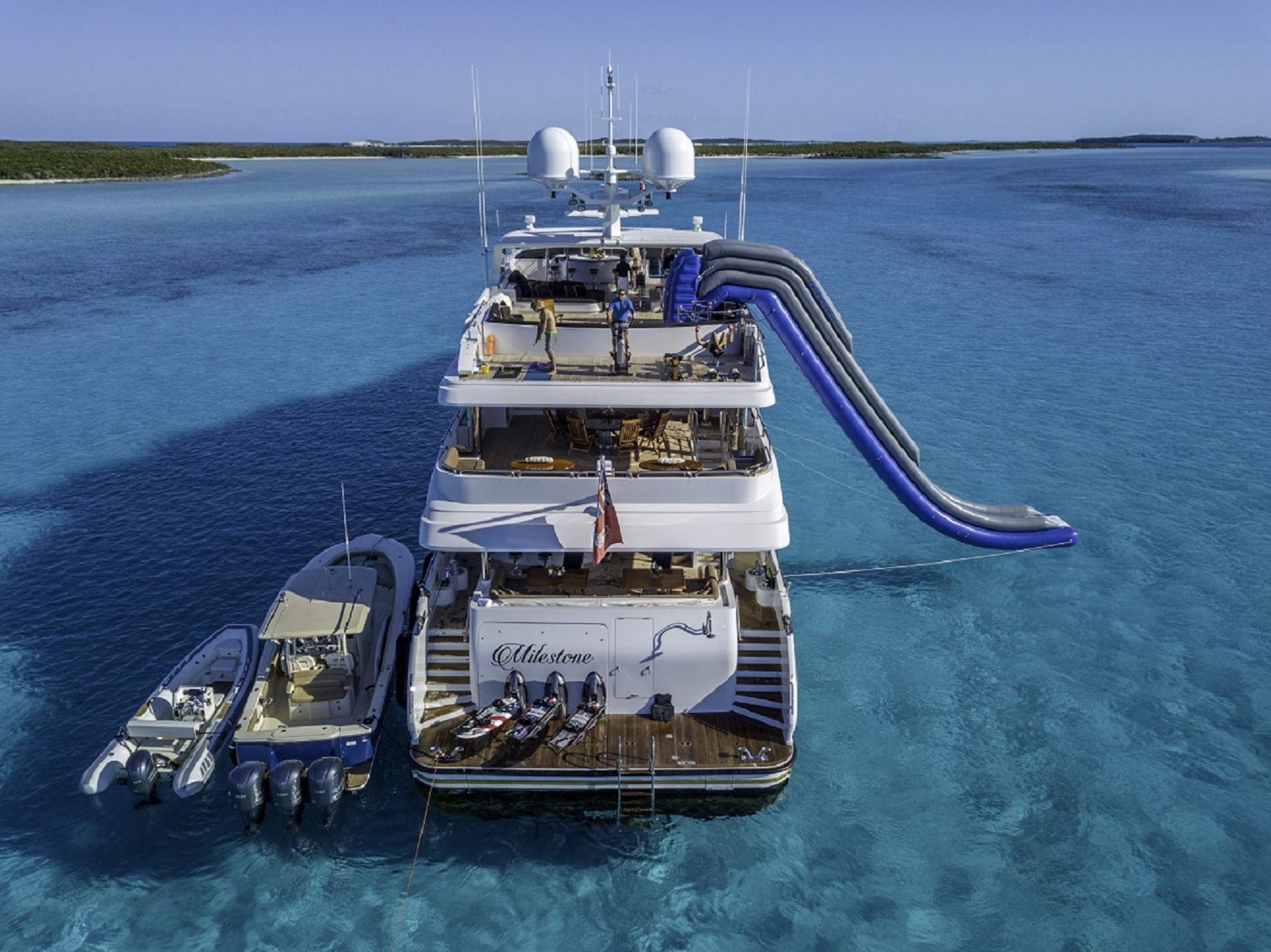 waterslide on luxury m/y milestone for charter