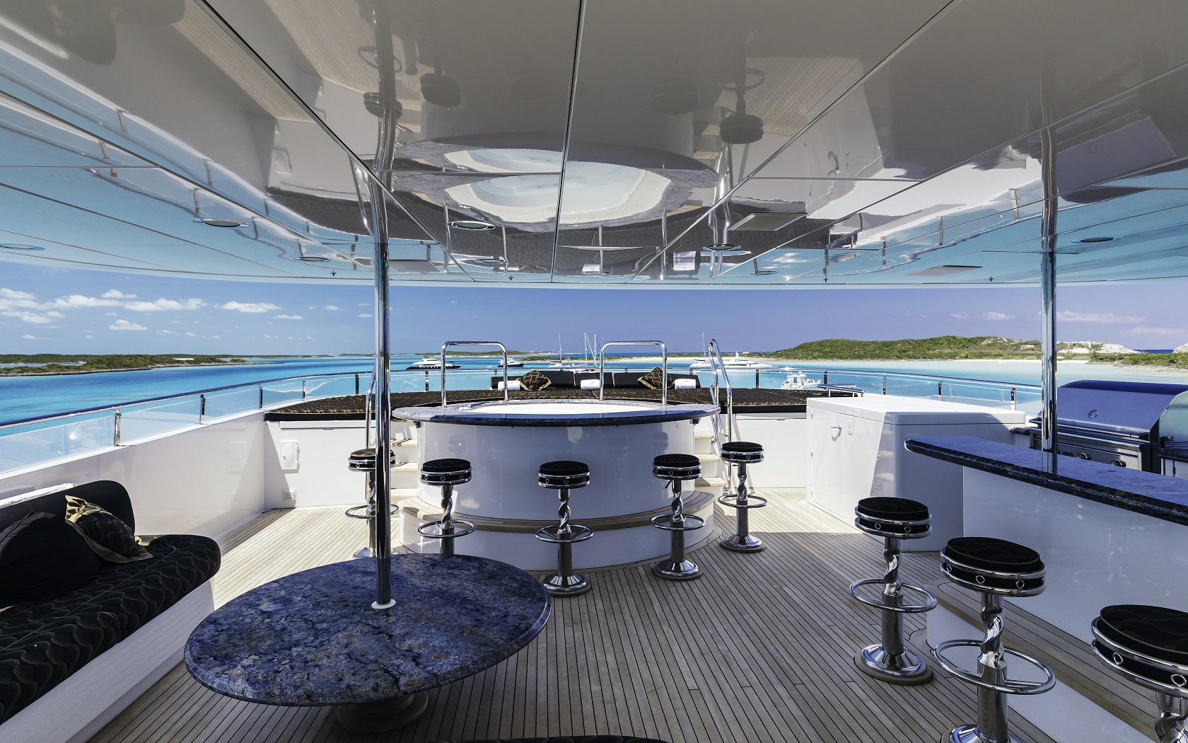 Jacuzzi on a deck on m/y milestone luxury yacht for charter