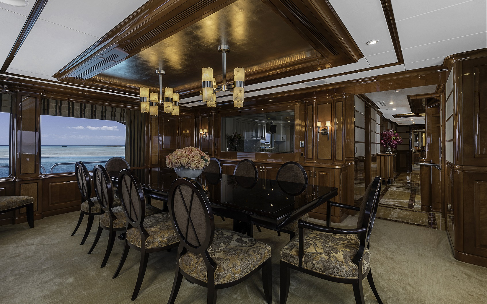 m/y milestone yacht for charter dining room