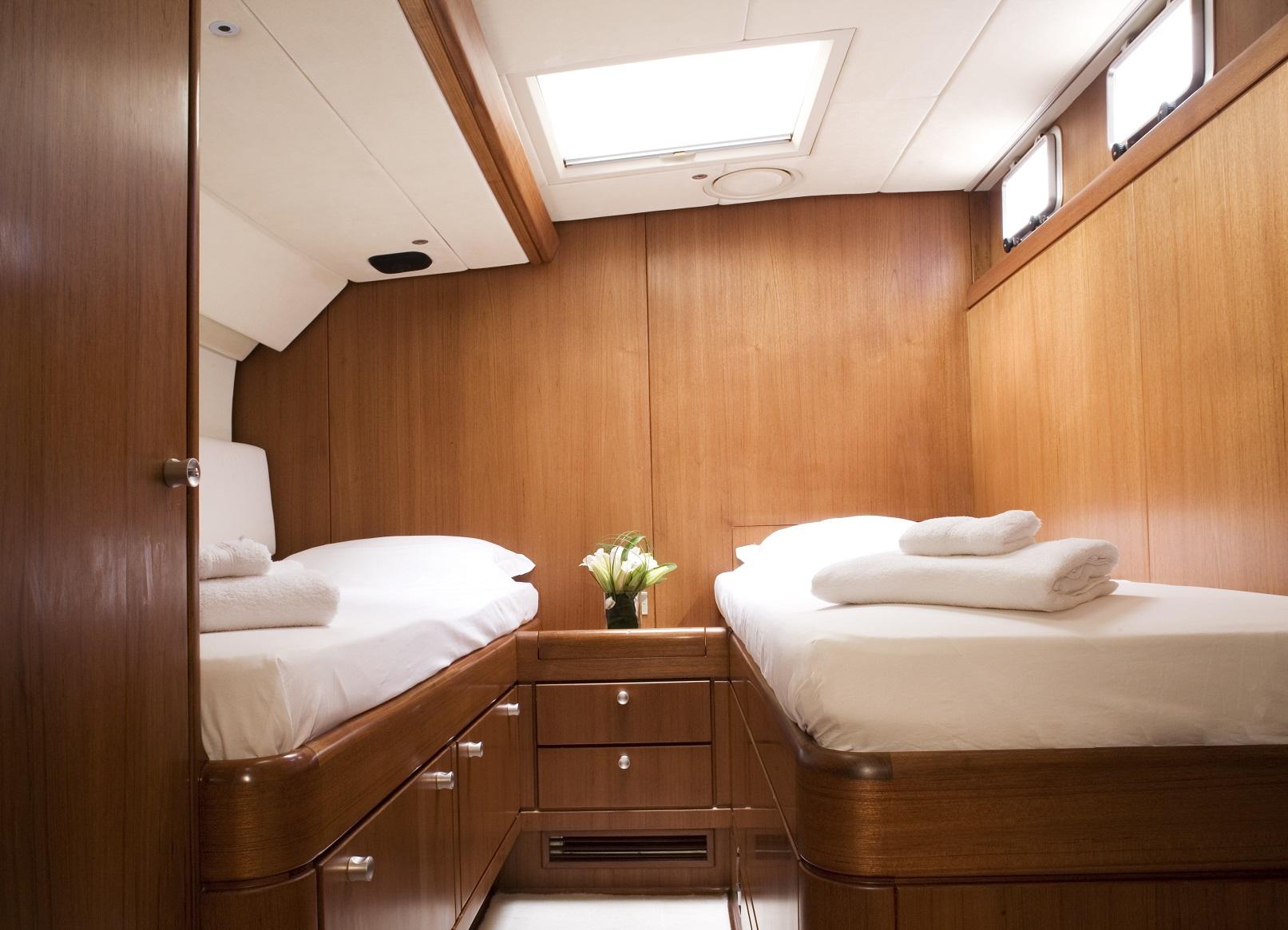 S/Y CYCLOS II for charter twin bedroom