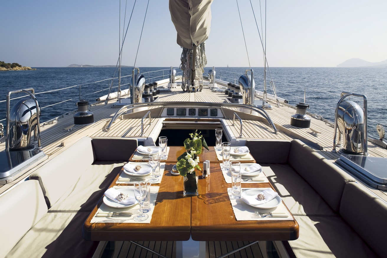 S/Y CYCLOS II yacht for charter dining area on deck