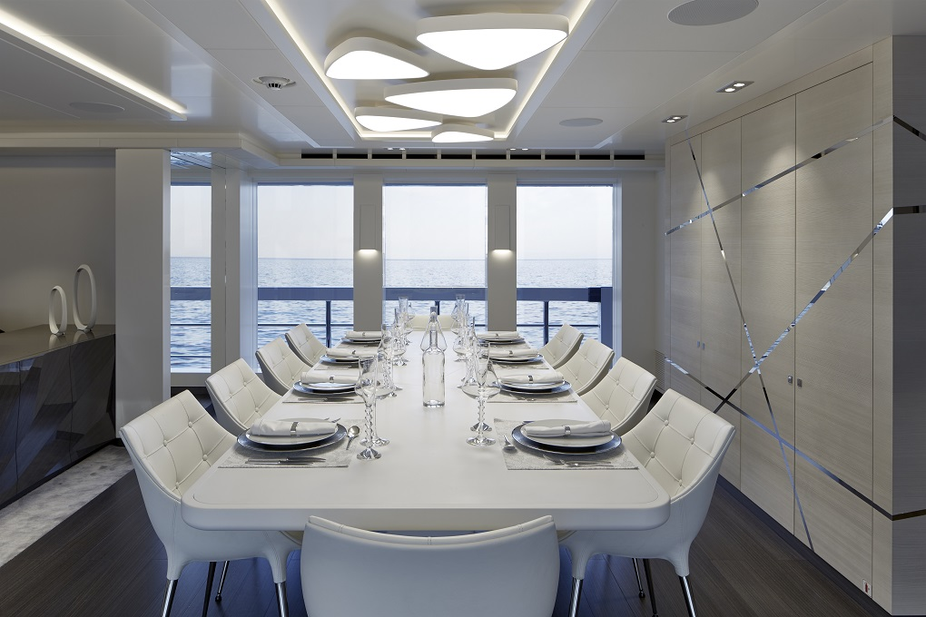 m/y home yacht for charter dining area
