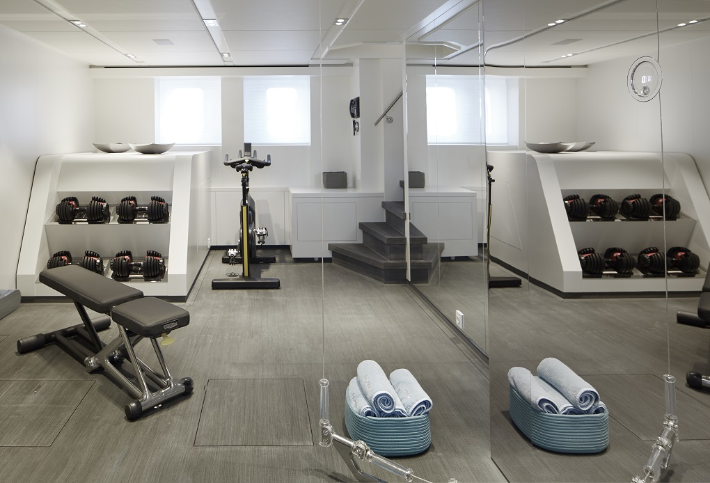 Gym area on M/Y Home yacht for charter