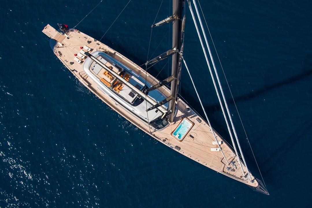Aerial view of S/Y PERSEUS 3 yacht for sale