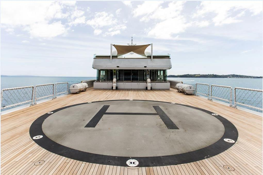 helipad aboard expedition yacht for sale