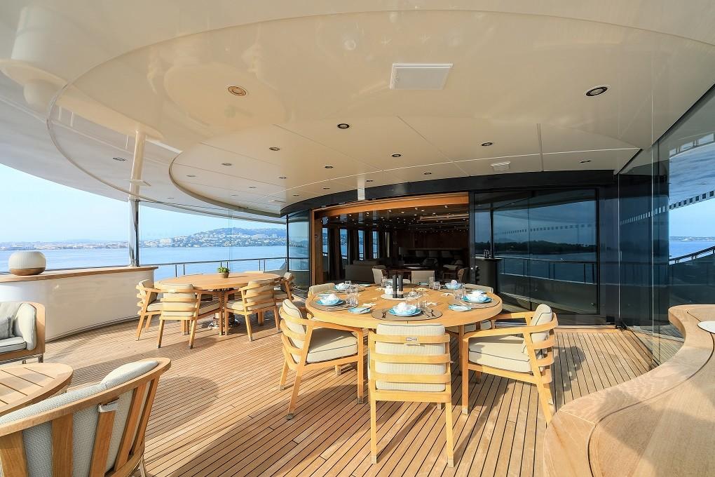 M/Y LUNA B yacht for charter patio deck