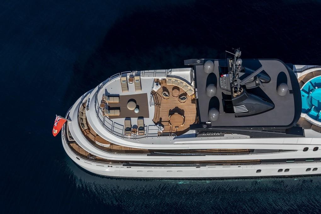 M/Y LUNA B yacht for charter birdview of deck