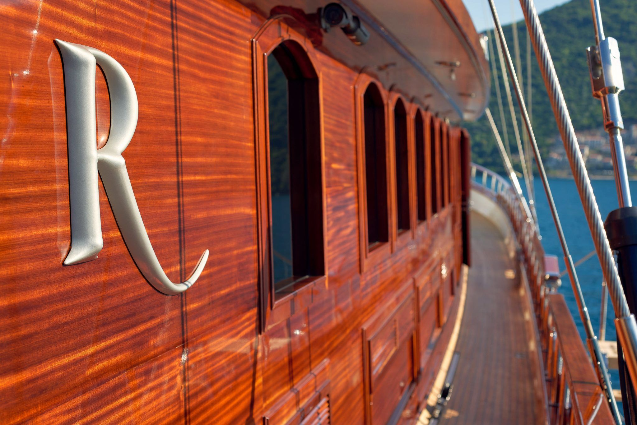 S/Y RIANA Yacht for Charter wood detail