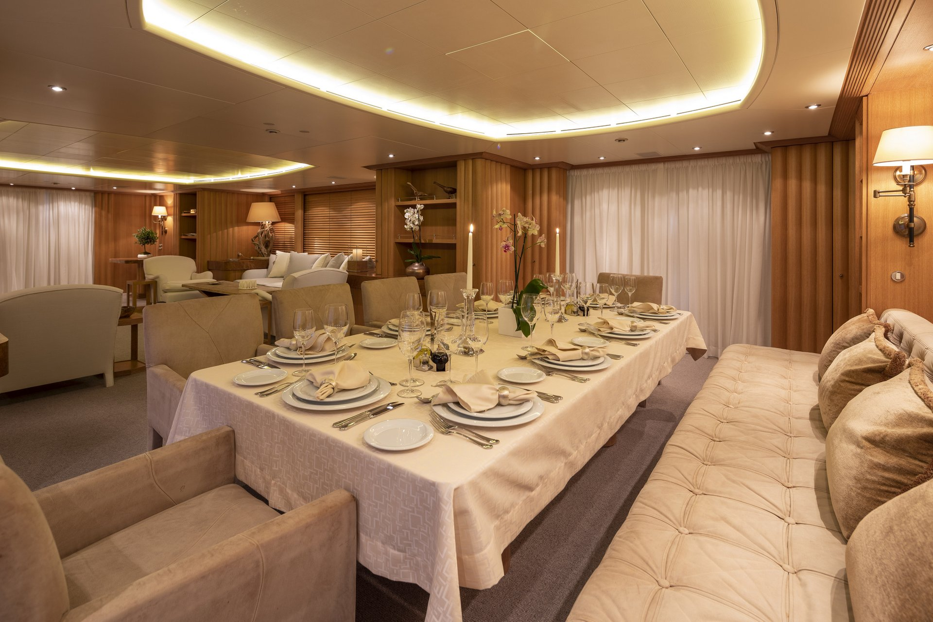 m/y alexandra yacht for charter indoor set dining table
