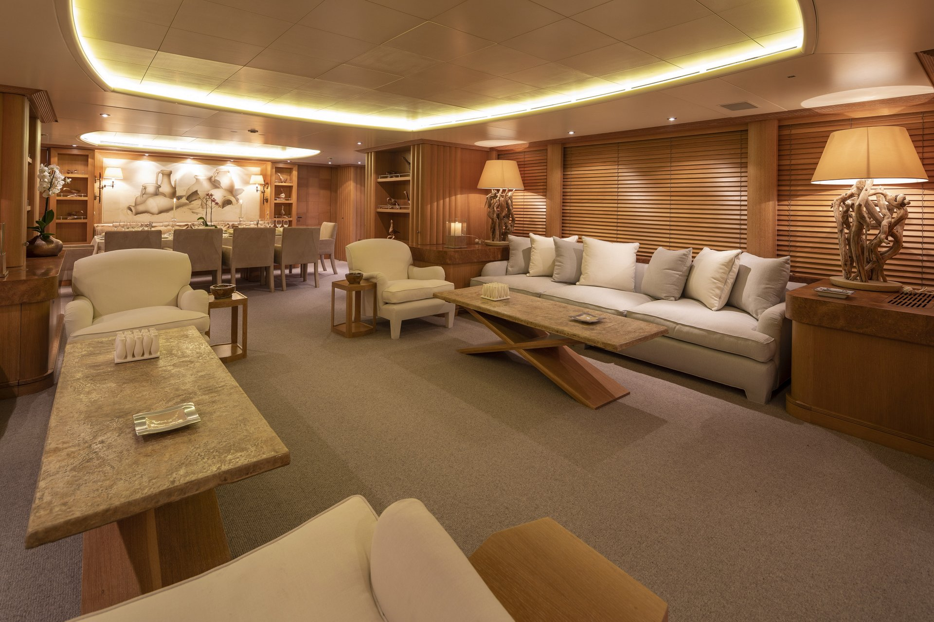 m/y alexandra yacht for charter living room
