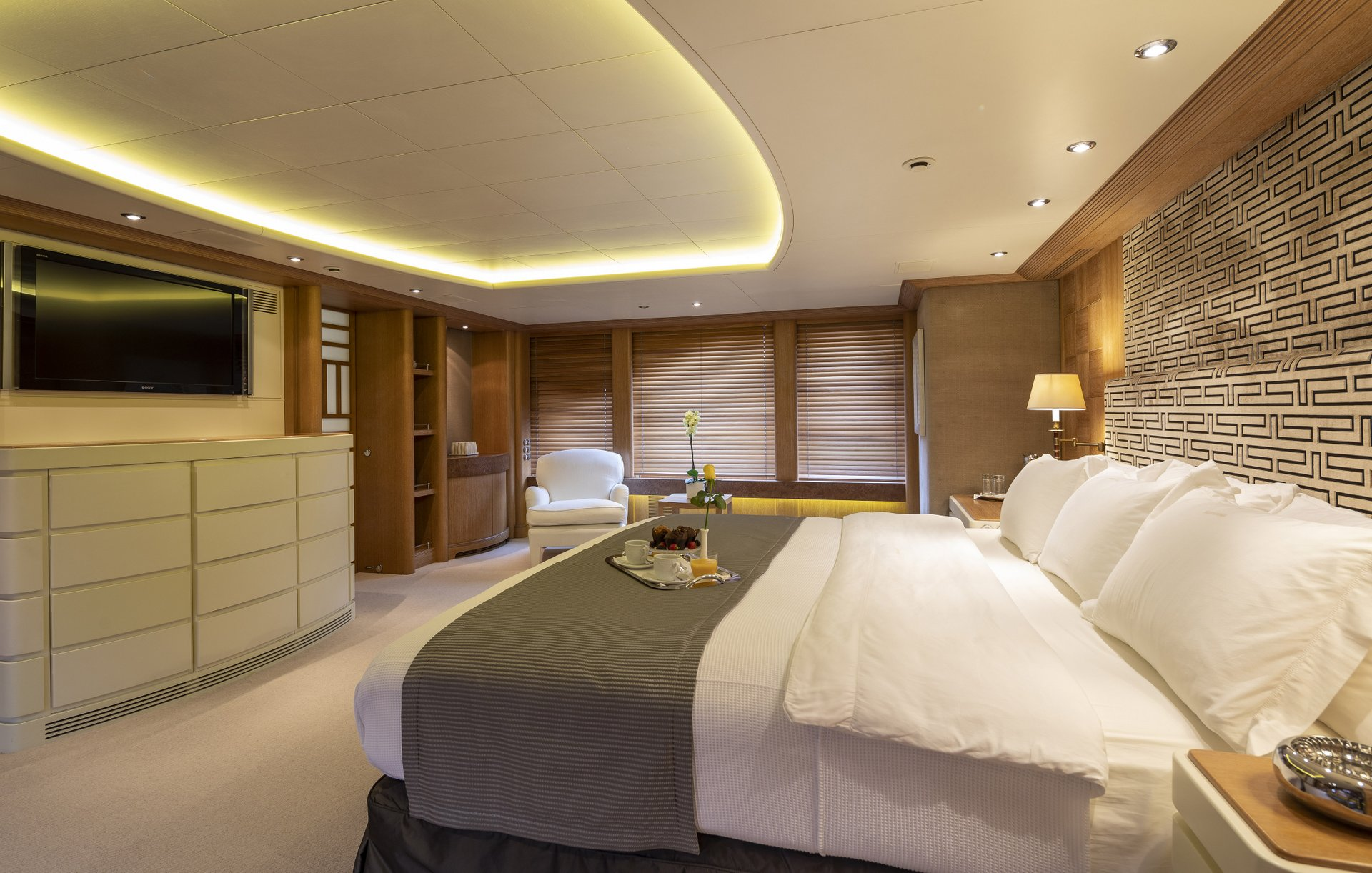 m/y alexandra yacht for charter master suite bed