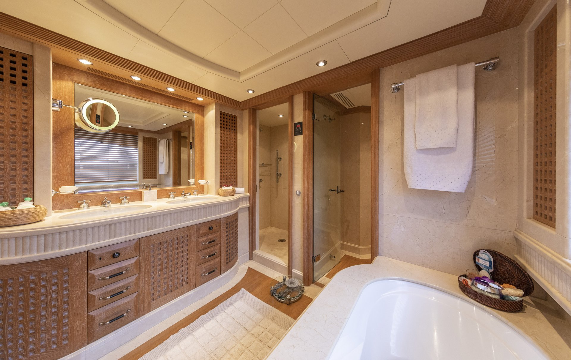 m/y alexandra yacht for charter master bathroom