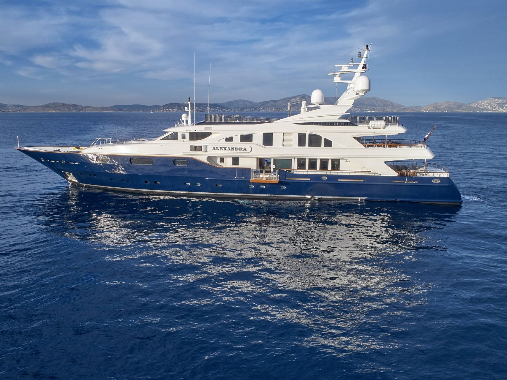 m/y alexandra yacht for charter anchored close up