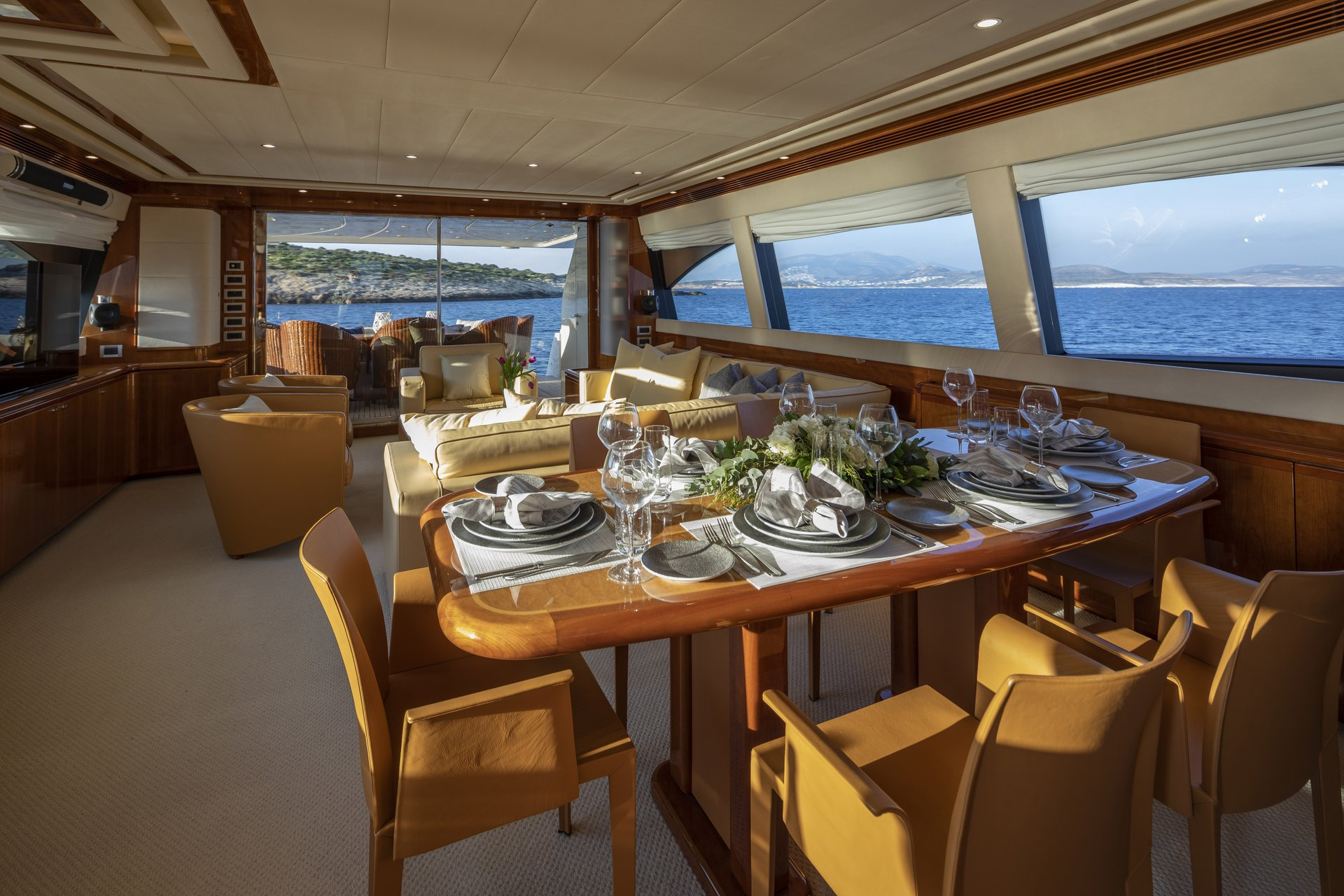 m/y astarte yacht for charter indoor dining table