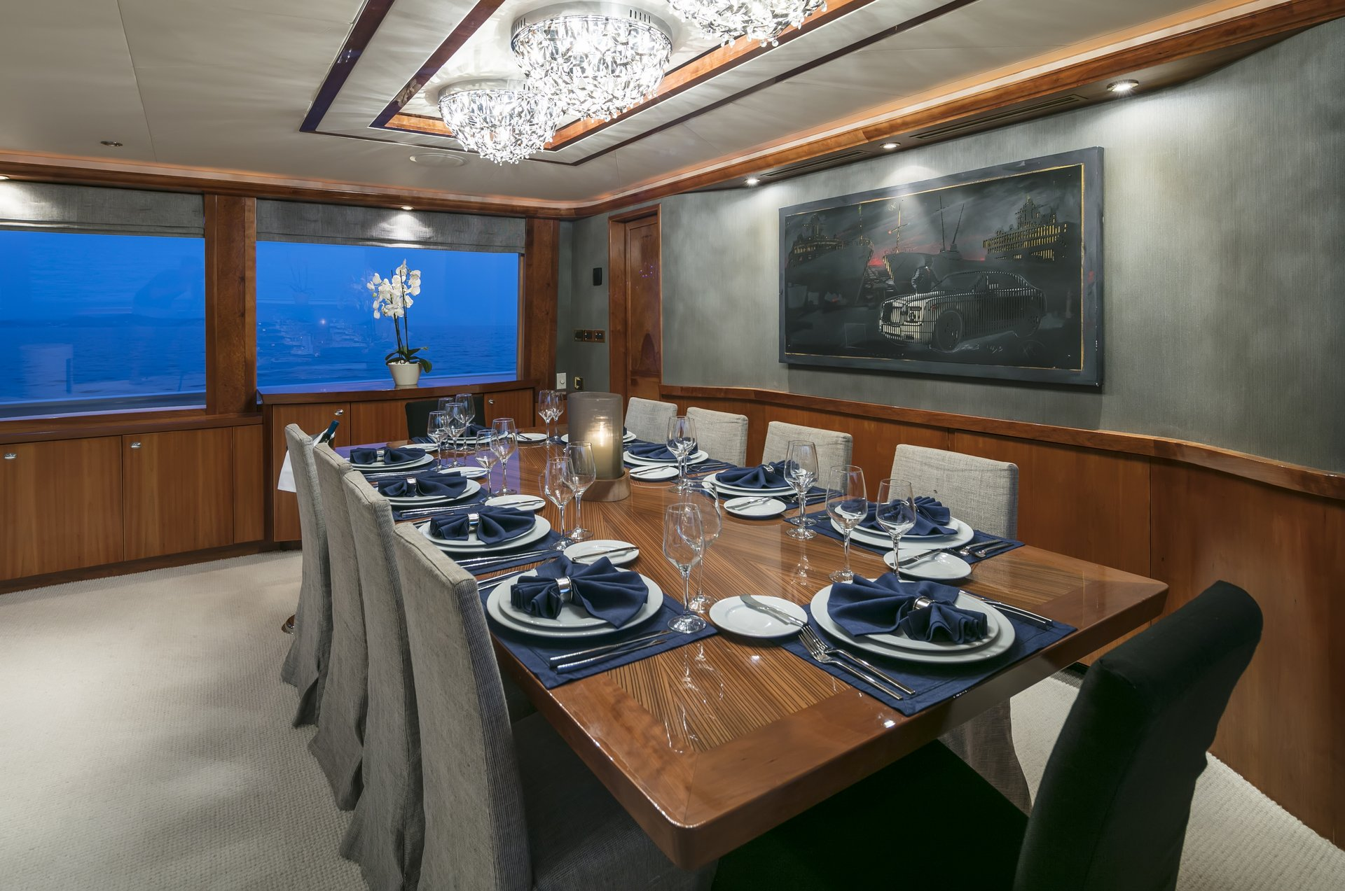 m/y endless summer yacht for charter set dining table