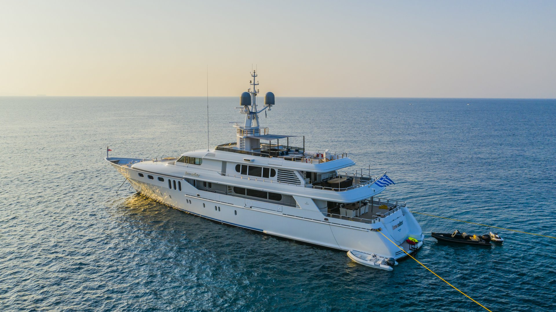 m/y invader yacht for charter anchored