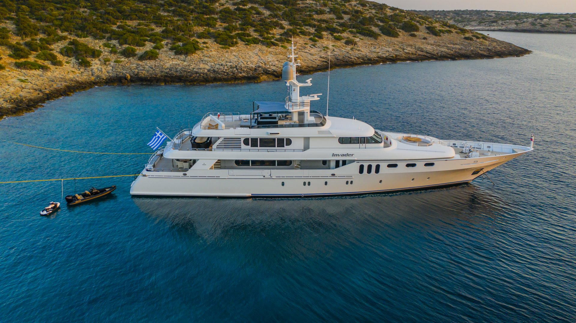 m/y invader yacht for charter bird eye view