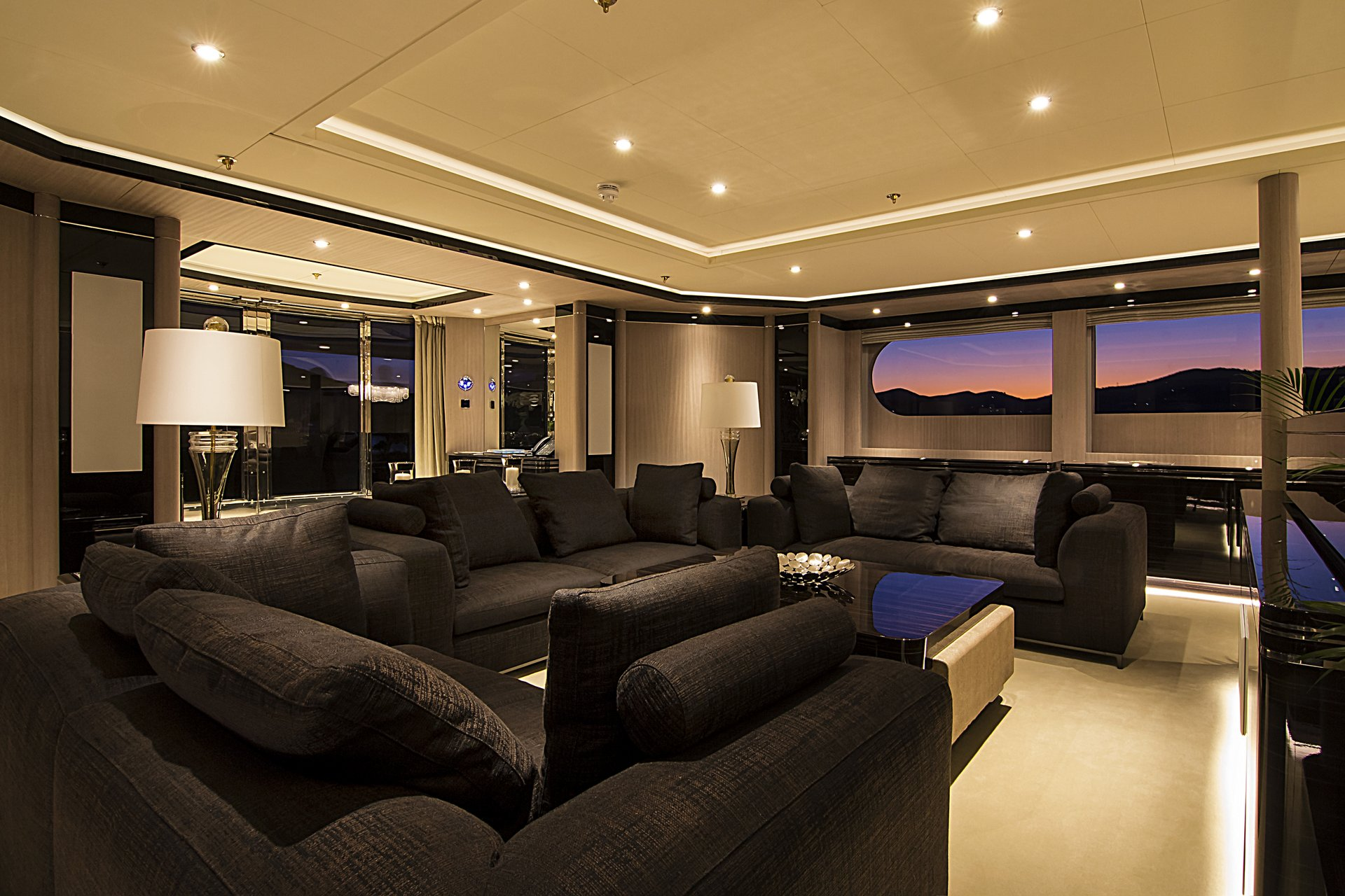 m/y invader yacht for charter sofas